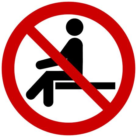 Wektor znak zakazu - nie siedzi. Nie siadaj na powierzchni