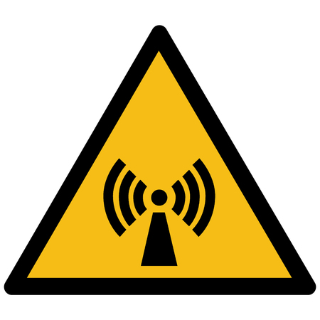 Warning sign, non ionizing radiation in triangular frame.