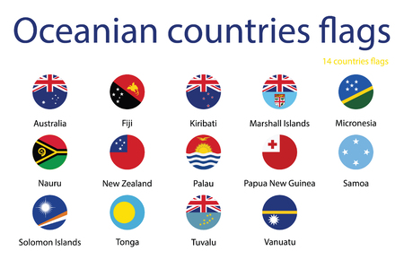 A Vector icon set, collection round flags of Oceania