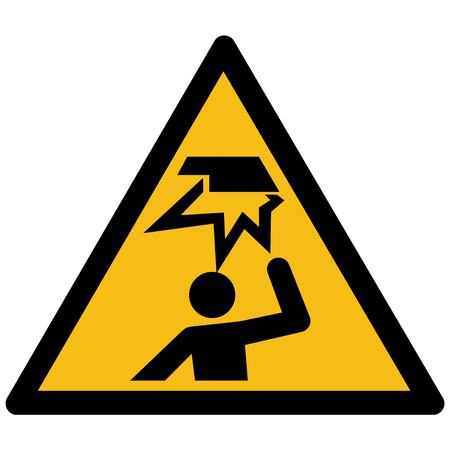 Warning, hazard sign vector - Overhead obstacle label, sticker Illustration