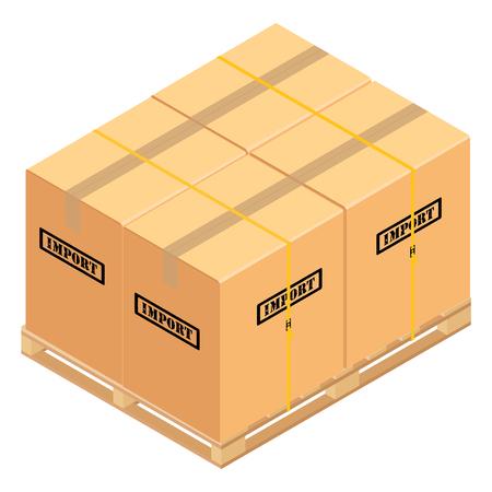 Boxes on wooden pallet.  Warehouse cardboard parcel boxes stack wooden pallet isometric 3d vector illustration. Banque d'images - 97344685