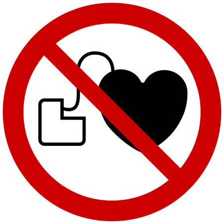 Prohibition sign vector- No access with cardiac pacemaker sign