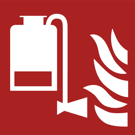 Portable foam applicator and flame illustration sign on a red background