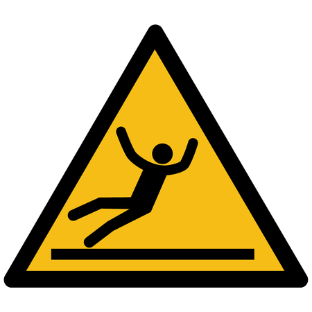 Warning sign of a person falling on a slippery surface.