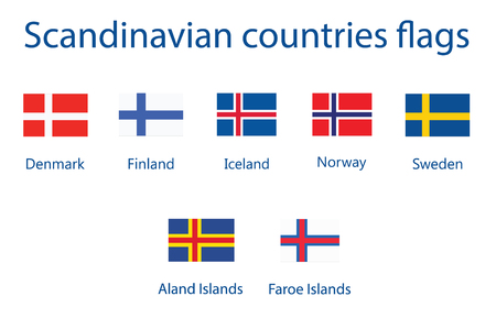 Nordic Scandinavian countries flag vector icon set Ilustrace