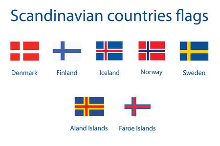 Nordic Scandinavian countries flag vector icon set Illustration