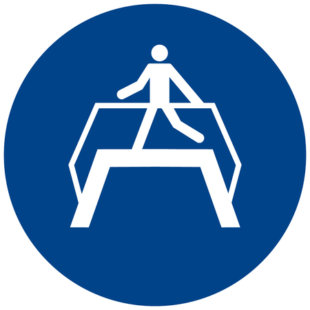 Circular sign with a man walking on a footbridge