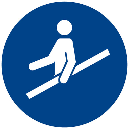 Mandatory safety sign vector- Use handrail symbol, label, sticker