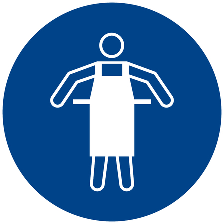Mandatory sign vector of Use protective apron symbol, label, sticker