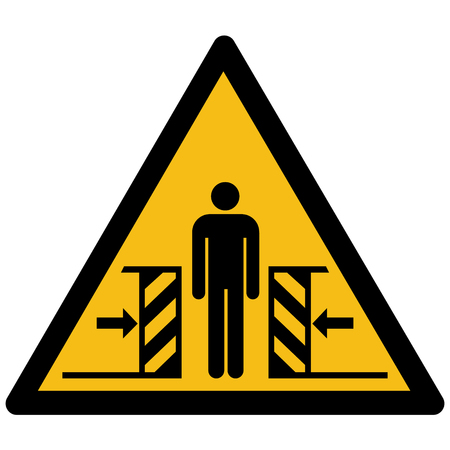 Yellow warning sign vector with a man and crushing symbol