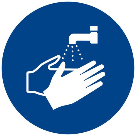 Verplichte teken vector was je handen symbool label, sticker Vector Illustratie