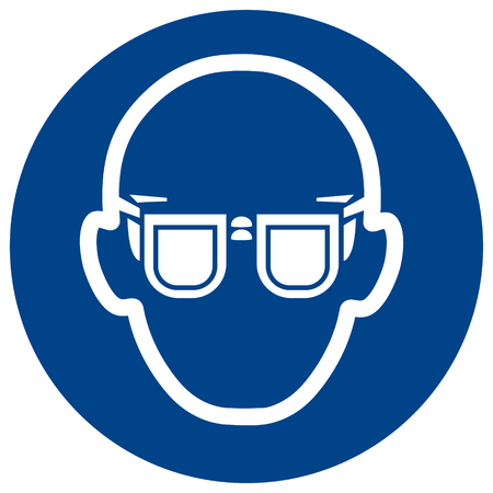 Mandatory sign vector Wear glasses. Eye protection must be worn symbol, label, sticker Standard-Bild - 97418048