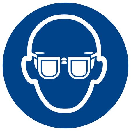 Vecteur de signe obligatoire Porter des lunettes. La protection des yeux doit être portée symbole, étiquette, autocollant