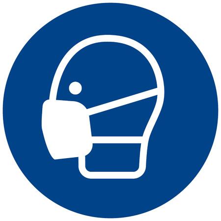 Gebotszeichen-Vektor Sicherheitsgesichtsmaske muss getragen werden, Sicherheitsschutzmasken-Symbol, Etikett, Aufkleber Standard-Bild - 97418050