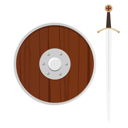Illustration of a shield and sword isolated on a white background. Illustration