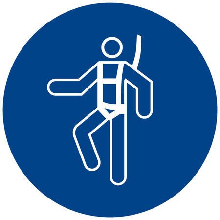 Blue and white sign of a man wearing a safety harness symbol