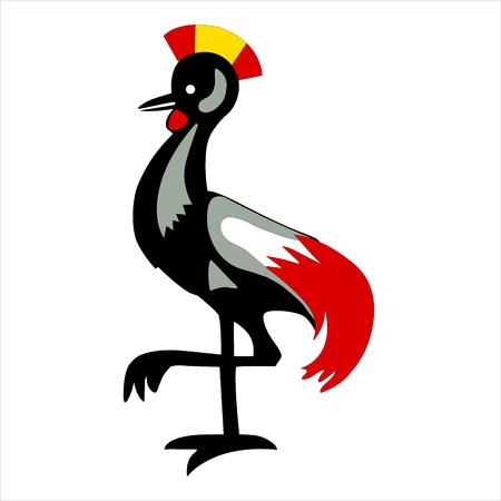 Raster illustration heraldic rooster isolated on white background. Uganda flag