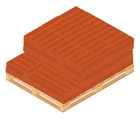 Raster illustration isometric new red perforated ceramic bricks stacked on wooden pallet isometric 3d raster illustration. Wooden stock icon Banque d'images - 97852597