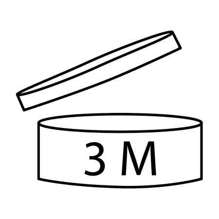 Raster illustration cosmetics symbol design. Period of validity after opening icon. Expiration date after product opening symbols. 3M