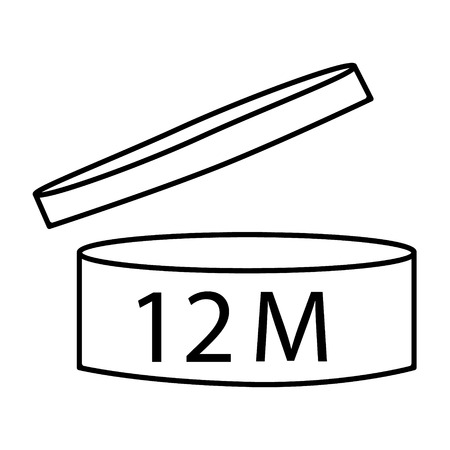 Raster illustration cosmetics symbol design. Period of validity after opening icon. Expiration date after product opening symbols. 12 M Stockfoto
