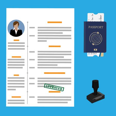 Raster illustration visa stamping approved. Passport or visa application. Travel immigration stamp