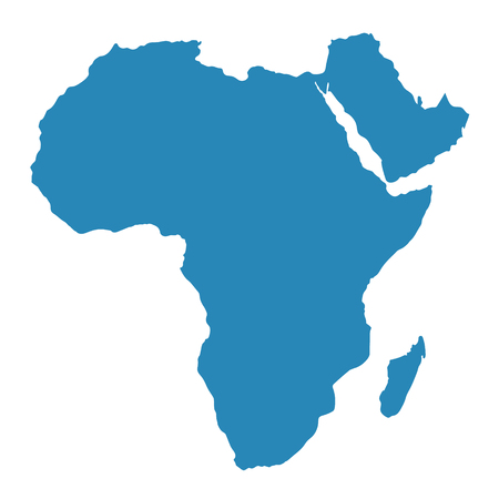 Raster illustration Africa map isolated on white background. African continent icon.