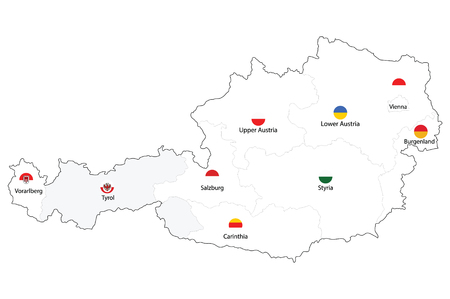 Raster illustration map of Austria federal states with names and flags isolated on white background.