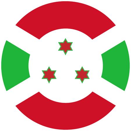 Raster illustration Burundi flag icon isolated on white background. Rectangle national flag of Burundi. Flag button