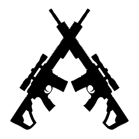 Raster illustration of two crossed an assault rifle icon. Silhouette of automatic fire rifle. Stock Photo