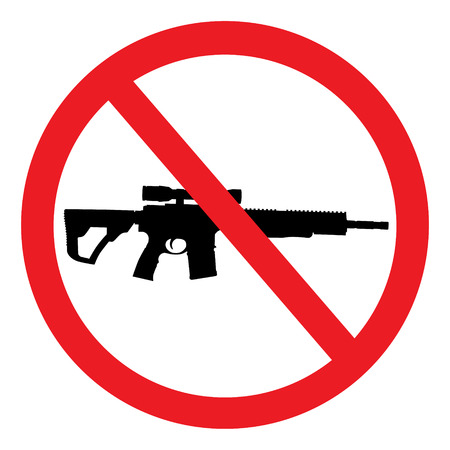Red prohibition no gun round sign, symbol isolated on white background 免版税图像