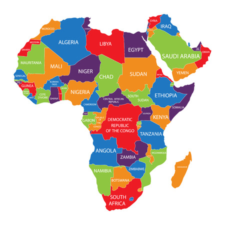 Raster illustration Africa map with countries names isolated on white background. African continent icon.