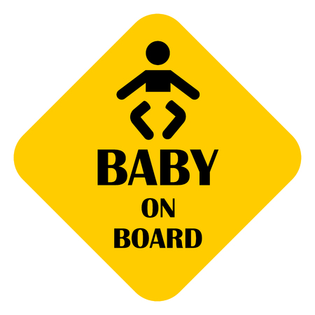 Raster illustration baby on a board sticker yellow isolated on white background. Baby on a board sign, symbol for car Stock Photo