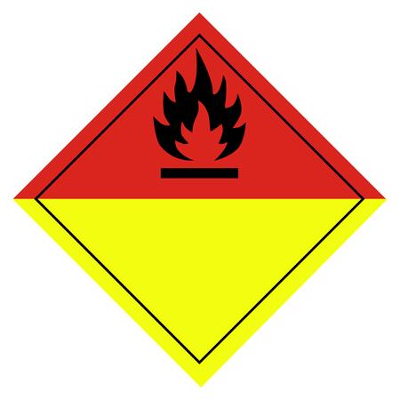 Raster illustration sign for burning or organic peroxides pictogram isolated on white background