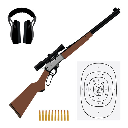 Raster illustration hunting rifle, bullets, shooting target and ear muffs for shooting. Sport equipment icon set
