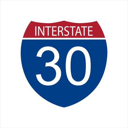 Raster illustration interstate highway 30 road sign icon isolated on white background