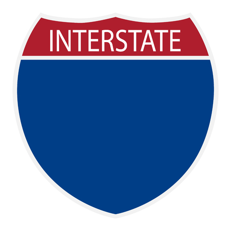Raster illustration interstate highway blank road sign icon isolated on white background Imagens