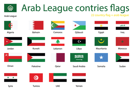Member states of Arab League, set of country flags (League of Arab States, international regional organization), vector illustration, flat icons.