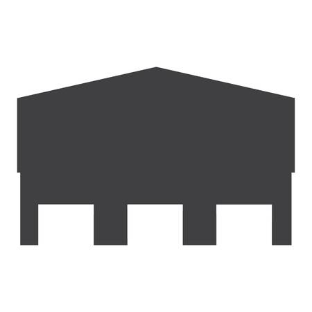 Vector icon factory or warehouse for cargo delivery with three doors. Storage building icon