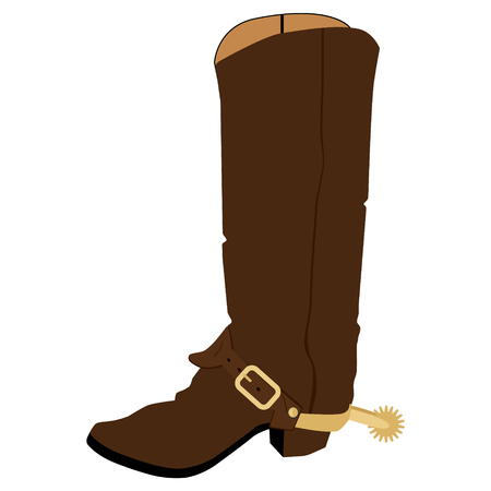 Vector illustration old cowboy boots with spur. Cowboy shoe. Western traditional  footwear. 矢量图像