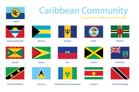 Caribbean Community member flags vector icon set. Flag buttons of CARICOM