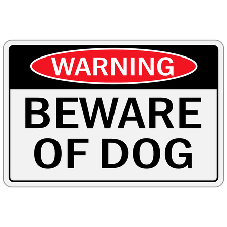 Vector illustration warning sign beware of dog.