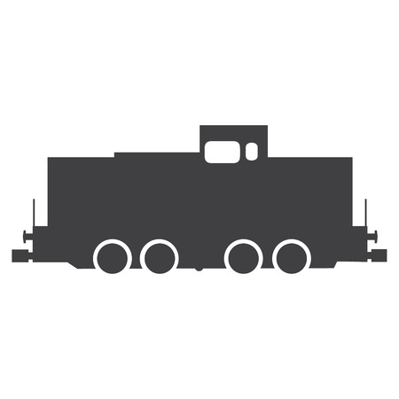 Simple vector flat icon train grey silhouette. Transport, transportation sign, symbol
