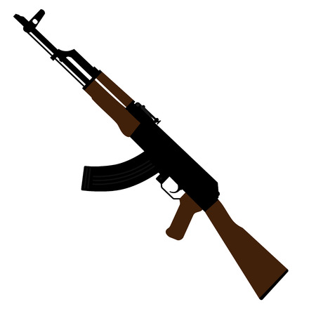 Vector illustration AK47 icon. Kalashnikov machine gun 版權商用圖片 - 98866019