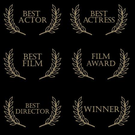 Film awards: best actor, best actress, film awards, best director, best film, winner. Film festival, movie awards, olive brunch 向量圖像