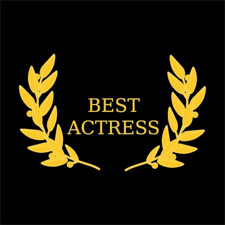 Vector illustration film award best actress laurel wreath Vectores