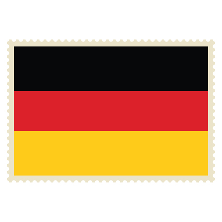 Vector icon Germany flag on postage stamp isolated on white background. Germany flag button