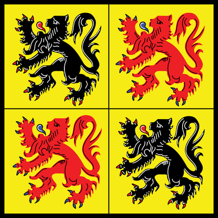 Vector flag of Hainaut Belgian province, Walloon region