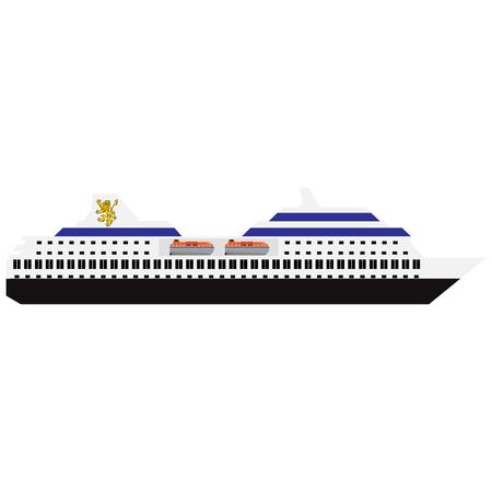 Vector illustration of sea cruise ship isolated on white background Illustration