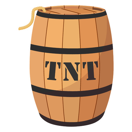 Vector illustration gun powder barrel. TNT dynimate wooden old barrel
