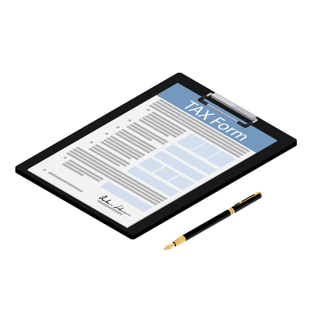 Vector illustration isometric black clipboard with tax form and fountain pen icon isolated on white background. Federal income tax form. Tax return Vectores